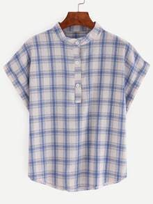 Band Collar Buttoned Front Blue Plaid Blouse