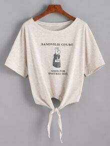 Knot-Front Bunny Print Slub T-shirt - Grey