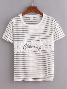 Lace Applique Striped T-shirt - Beige