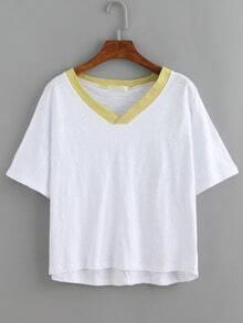 Contrast V-Neck White Slub T-shirt
