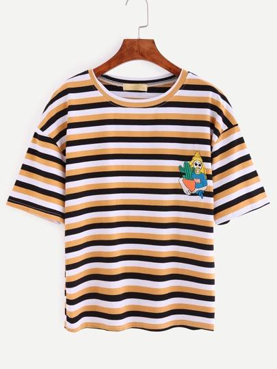 Embroidered Multicolor Striped Drop Shoulder T-shirt