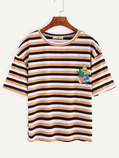 Embroidered Multicolor Striped Drop Shoulder T-shirt