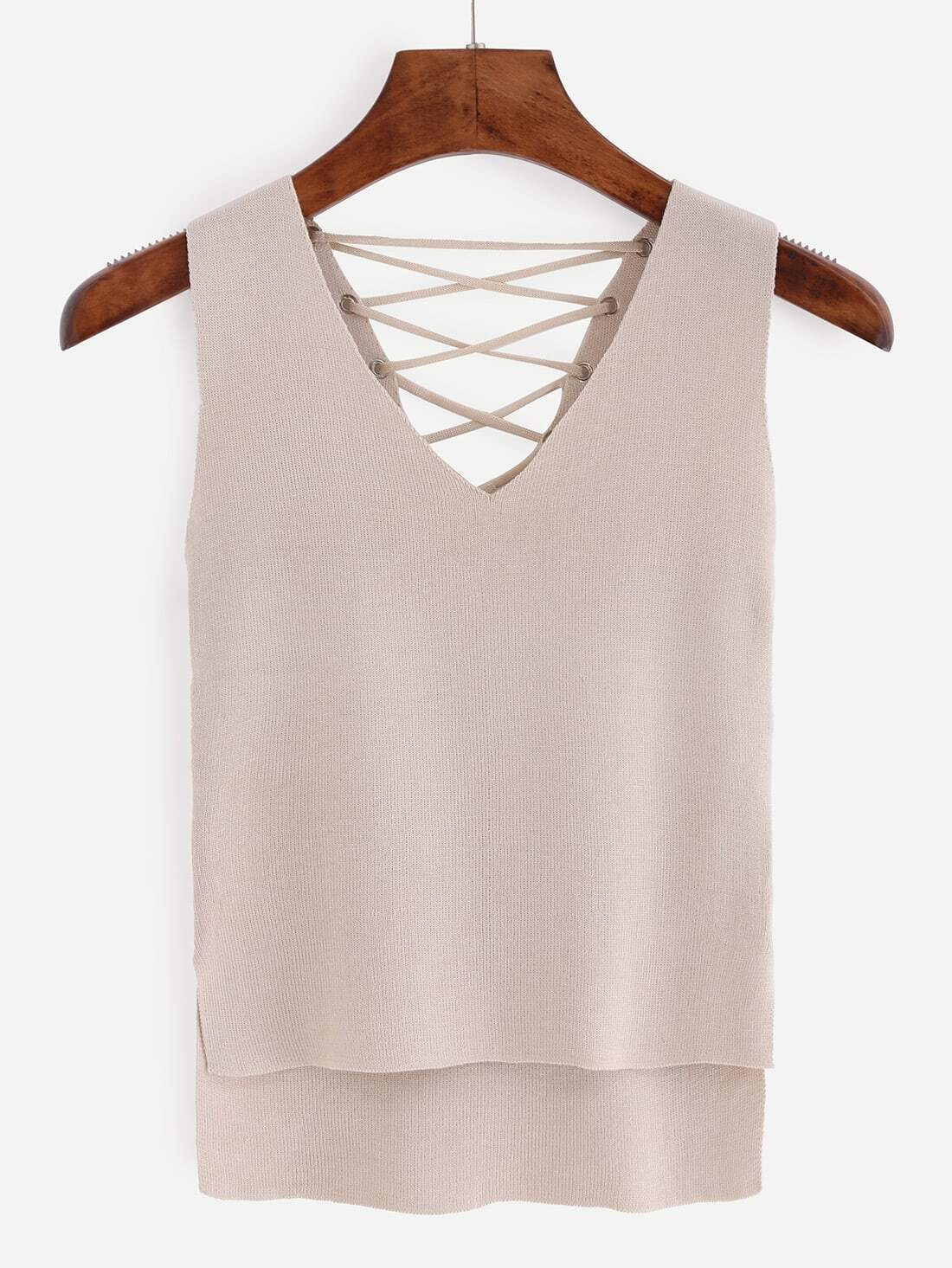 Buy Eyelet Lace-Up Knitted High-Low Tank Top - Apricot
