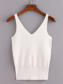 Double V-Neck Knitted Tank Top - White