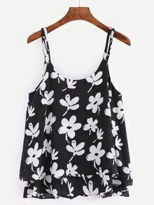 Flower Print Layered Chiffon Cami Top - Black