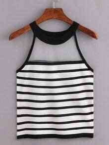 Sheer Halter Neck Black White Striped Knitted Top