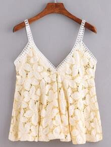 Hollow Out Flower Lace Cami Top - Light Yellow