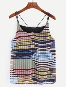 Strappy Multicolor Striped Chiffon Cami Top