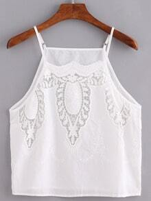 Lace Insert Embroidered Cami Top - White
