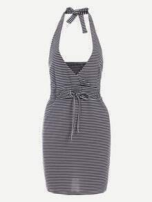 Halter Neck Surplice Front Black White Striped Dress