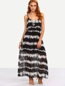 Tie Dye Stripe Print Chiffon Cami Dress - Black