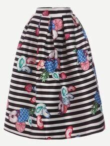 Fruit Print Black White Striped Volume Skirt