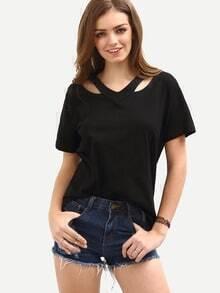 Cutout Loose-Fit T-shirt - Black