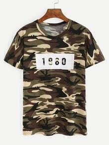 Number Print Camouflage T-shirt - Olive Green