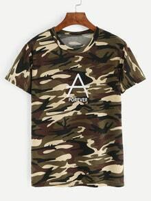 Letter Print Camouflage T-shirt - Olive Green