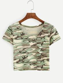 Green Camouflage Crop T-shirt