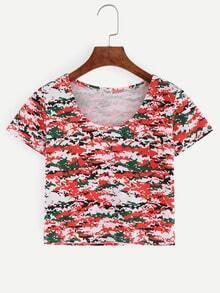 Digital Camouflage Crop T-shirt - Red