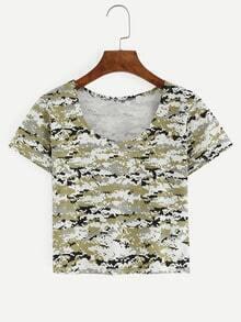 Digital Camouflage Crop T-shirt - Green