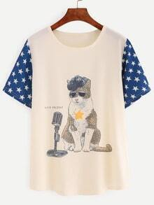 Contrast Star Sleeve Cat Print T-shirt - Beige