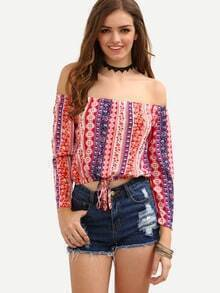 Off-The-Shoulder Tribal Print Crop Top - Red