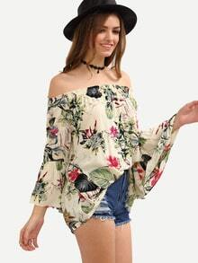 Multicolor Off-The-Shoulder Flower Print Blouse