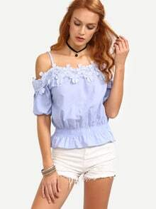 Lace Trimmed Cold Shoulder Peplum Top - Blue