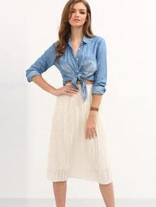 Pleated Chiffon Midi Skirt - White