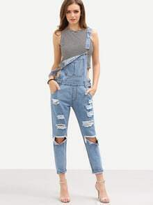 Ripped Light Blue Overall Jeans