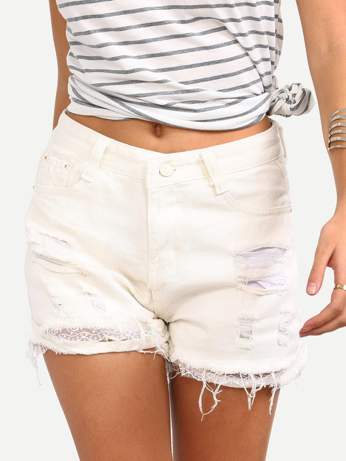 Ripped Lace Trimmed White Denim Shorts -SheIn(Sheinside)