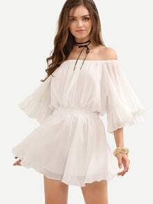 Off-The-Shoulder Shirred Waist Ruffled Dress - White