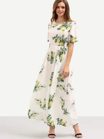 Flower Print High-Waist Dress - White
