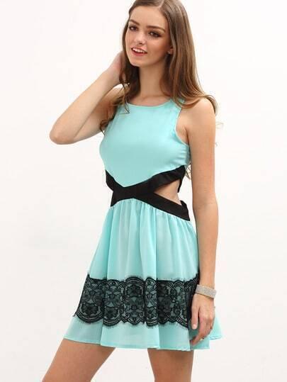 Lace Applique Cutout Sleeveless Skater Dress - Sky Blue