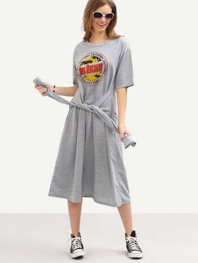 Faux Sleeve-Tie Logo Print Tee Dress - Grey
