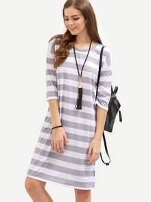 Grey Striped Shift Tee Dress