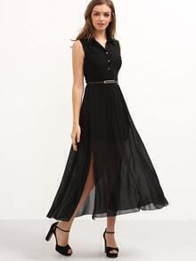 Belted Sleeveless Chiffon Shirt Dress - Black