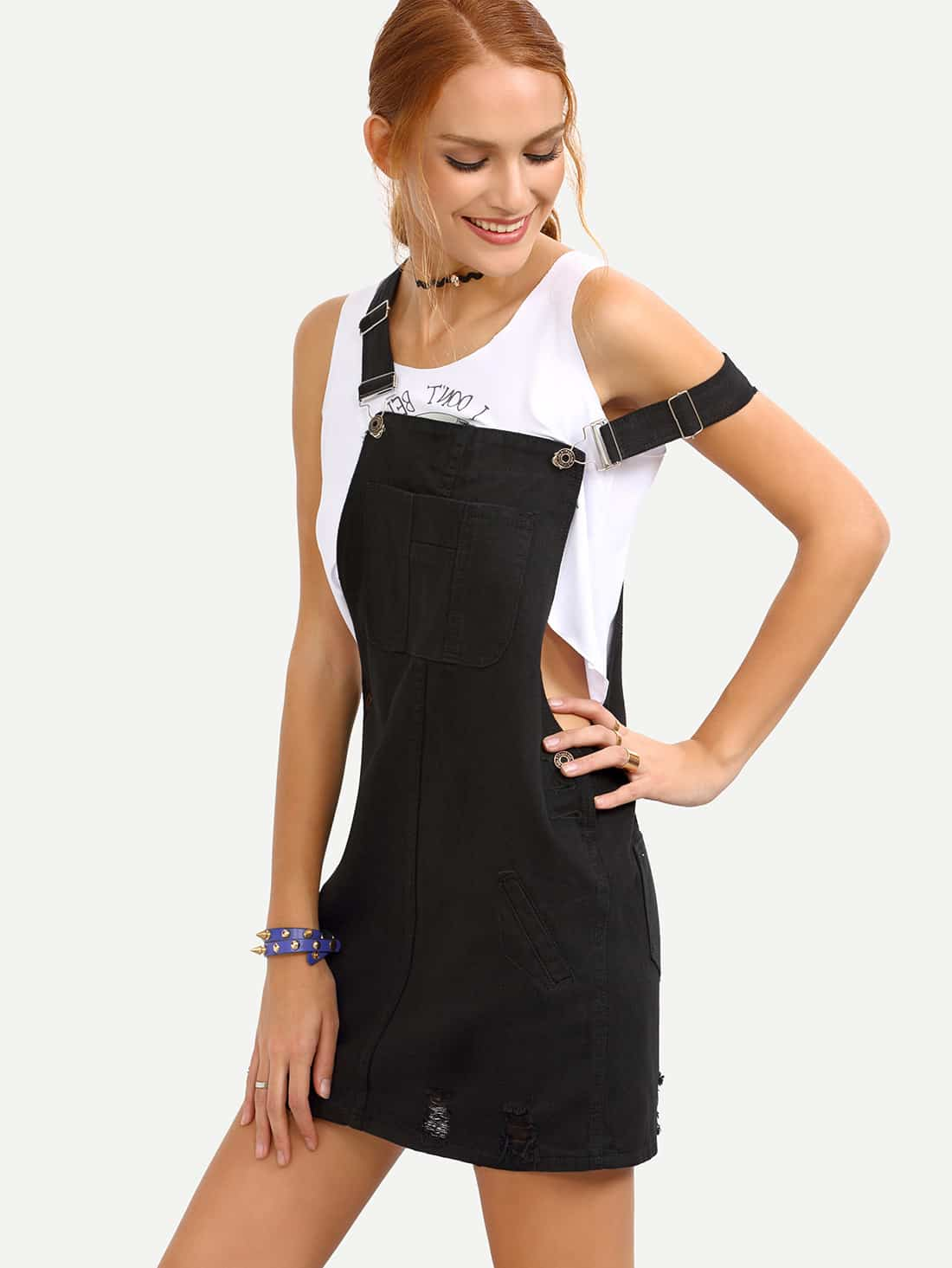 Купить со скидкой Ripped Black Denim Overall Dress