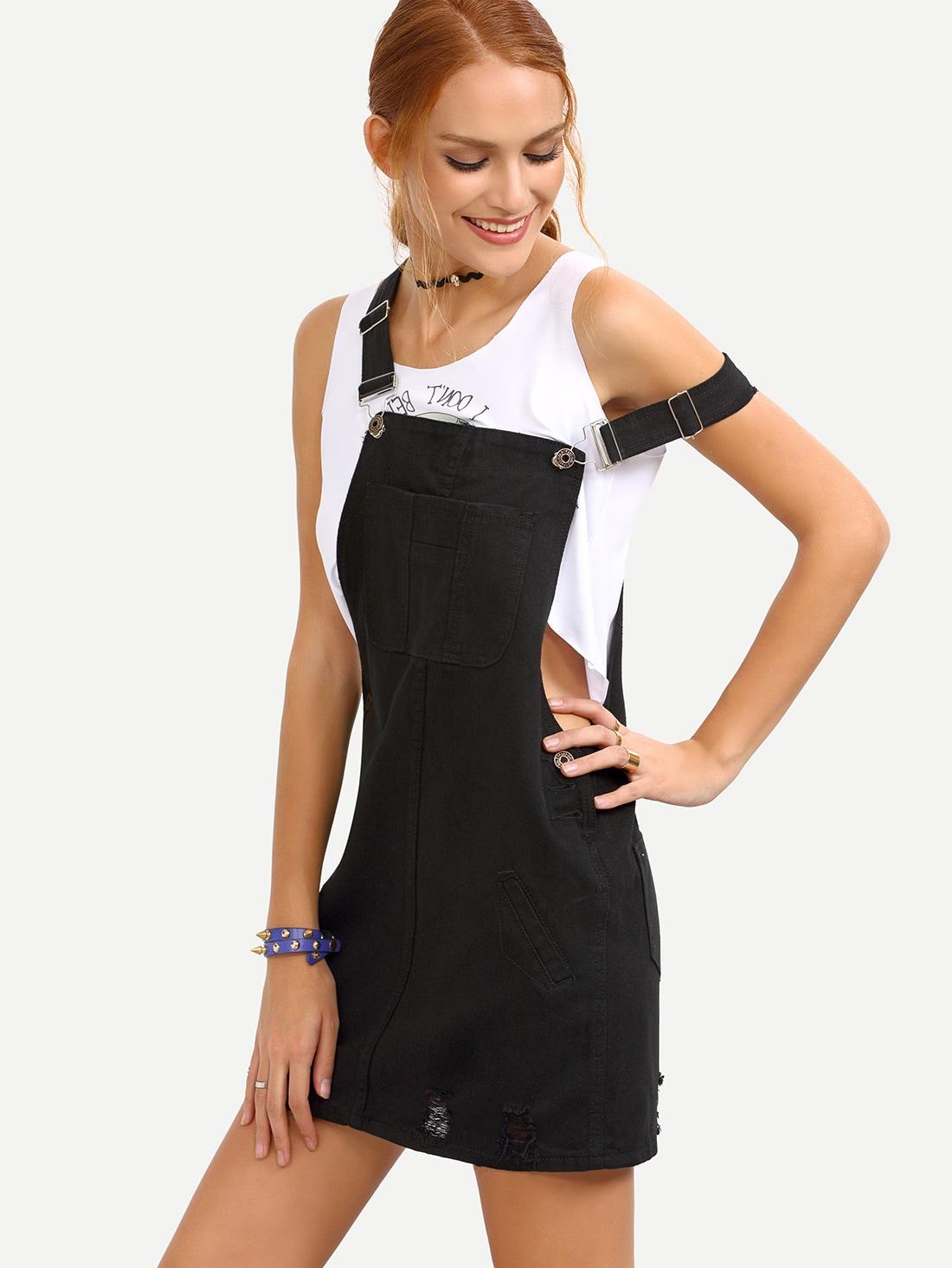 Ripped Black Denim Overall Dress dress160527008