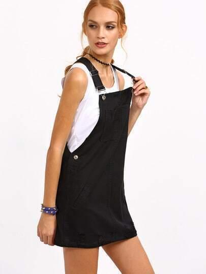 - Ripped Black Denim Overall Dress -SheIn(Sheinside)