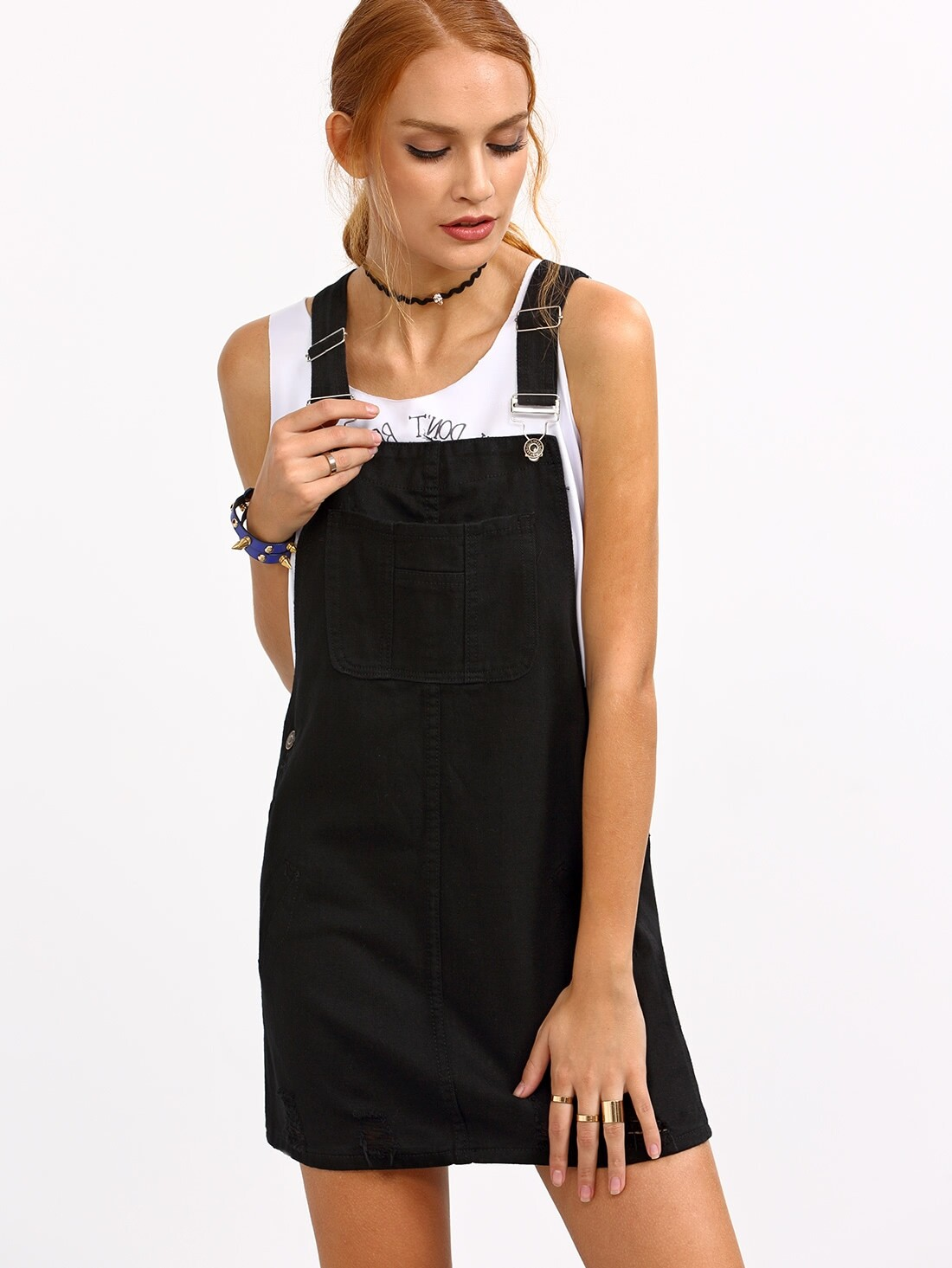 Ripped Black Denim Overall Dress -SheIn(Sheinside)