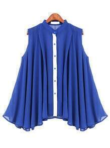 Blue Button Stand Collar Pleated Chiffon Blouse