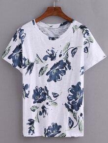 Blue Ink Flower Print T-Shirt