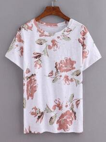 Ink Flower Print T-Shirt