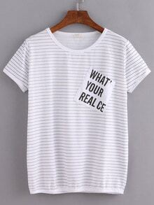Striped Letters Print Pocket T-Shirt