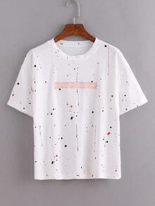 Speckled Print Letters Embroidered T-Shirt