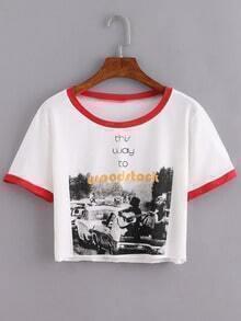 Contrast Round Neck Print Crop T-Shirt