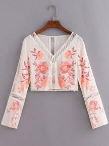 V Neck Embroidered Hollow Out Shirt