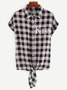 Black Plaid Letters Print Knotted Blouse