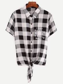 Plaid Letters Print Knotted Blouse