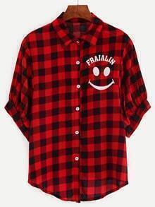 Plaid Smile Print Blouse