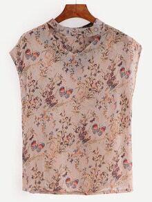 V Cut Florals Butterfly Print Chiffon Shirt